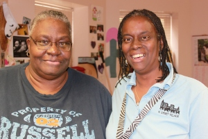 Evelyn and Elaine in the staff office of the drop-in day center.